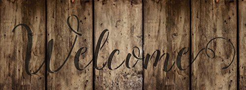 "Welcome Stencil by StudioR12 | Sunny Script Word Stencil - Reusable Mylar Template | Painting, Chalk, Mixed Media | Use for Wall Art, DIY Home Decor - STCL1438 - Select Size (11"" x 4"")"