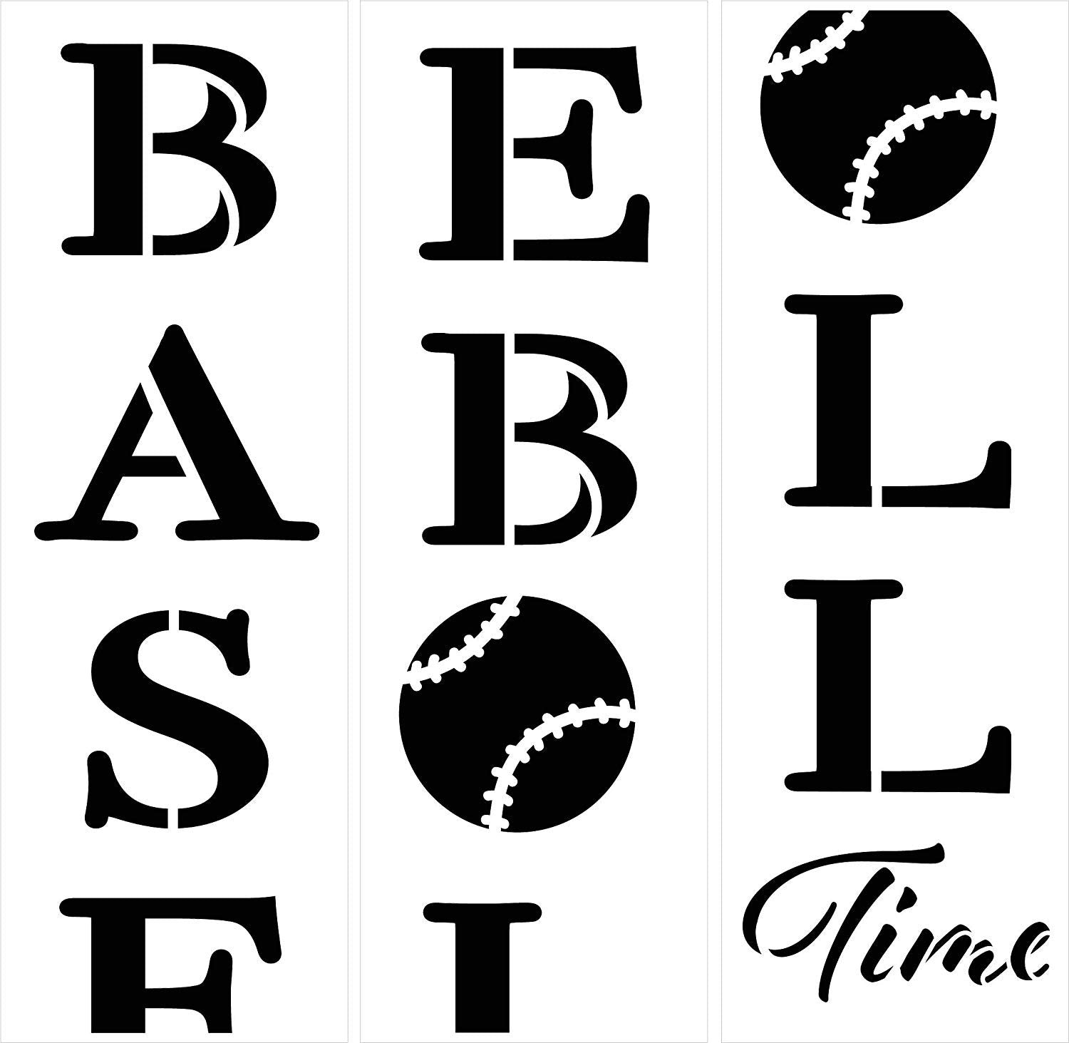 Baseball Time Stencil - for Making 6ft Vertical Porch Sign - 3 Part Stencil by StudioR12 | Reusable Mylar Template | Use to Paint Wood Signs - Pallets - DIY Sports Fan | Adult Fan Child Athlete