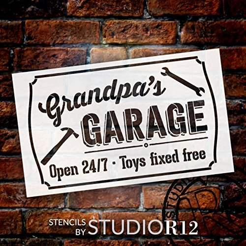 Grandpa's Garage - Open 24/7 Sign Stencil by StudioR12 | Reusable Mylar Template | Use to Paint Wood Signs - Pallets - DIY Grandpa Gift - Select Size