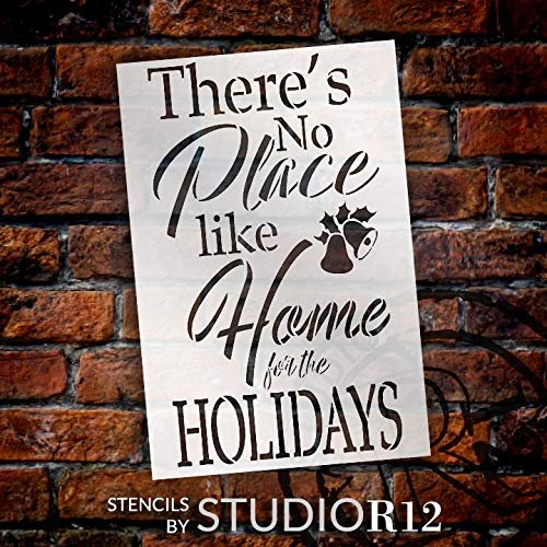 There's No Place Like Home for The Holidays Stencil - by StudioR12 | Reusable Mylar Template | Use to Paint Wood Signs - Pallets - DIY Christmas Season Decor - Select Size