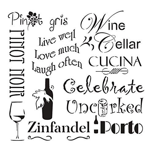 "Celebrate Wine Stencil by StudioR12 | Background Tuscan Word Art - Reusable Mylar Template | Painting, Chalk, Mixed Media | Use for Wall Art, DIY Home Decor - STCL 696 SELECT SIZE (19.5"" x 19.5"")"