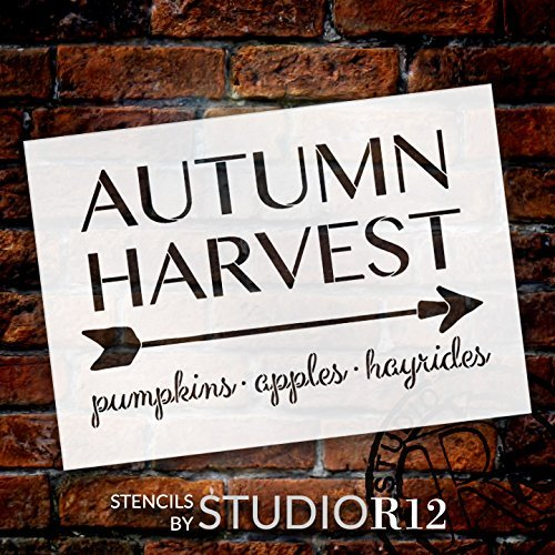 "Autumn Harvest - Arrow - Word Art Stencil - 17"" x 12"" - STCL1996_2 - by StudioR12"