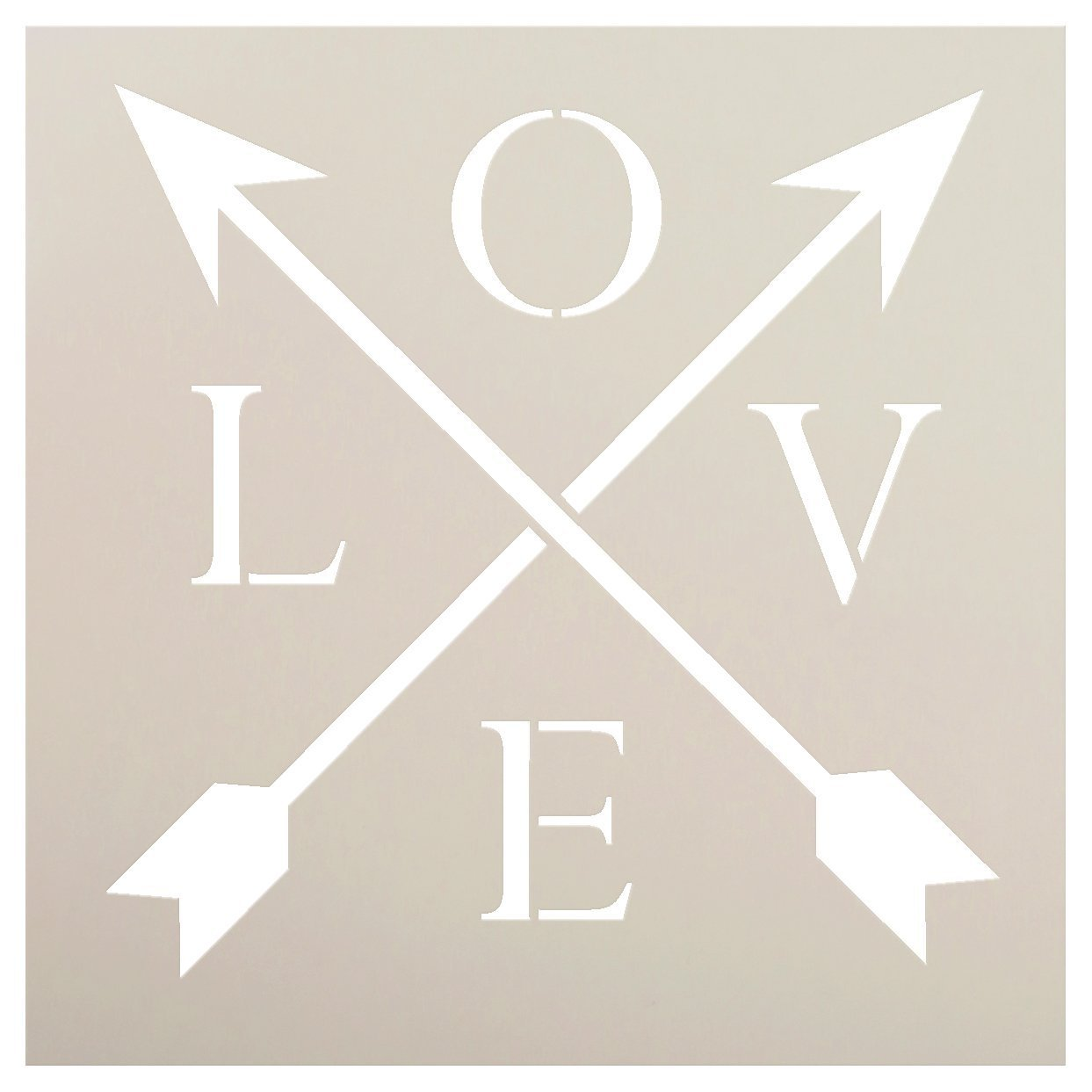 "Love with Crossbar Arrows Stencil by StudioR12 | Reusable Mylar Template | Use for Painting Rustic Signs on Pallets, Wood and Pillows | DIY Home Decor - CHOOSE SIZE … (9"" x 9"")"