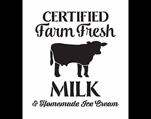 "Vintage Farm Fresh Milk Stencil by StudioR12 | Traditional Fun - Reusable Mylar Template | Painting, Chalk, Mixed Media | Use Crafting DIY Home Decor- STCL1494_1 Multiplle Sizes Avail (8"" x 9"")"