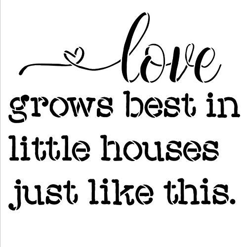 Love Grows Best in Little Houses Just Like This Stencil - Square by StudioR12 | Reusable Mylar Template | Use to Paint Wood Signs - Pallets - Pillows - DIY Home & Family Decor - Select Size