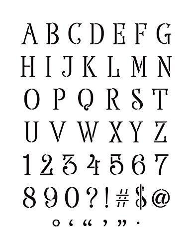 "Elegant Serif Alphabet, Numbers and Symbols - Stencil - 8.5"" x 11"" - STCL1932_1 - by StudioR12"
