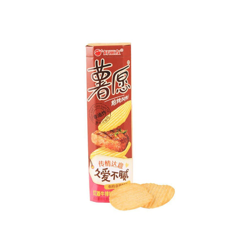 Holiland Potato Chips Red Wine Grilled Steak Flavor - 104g Snackoo