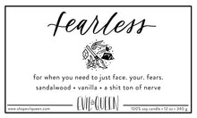 Hogwarts house Gryffindor inspired candle label: scent fearless
