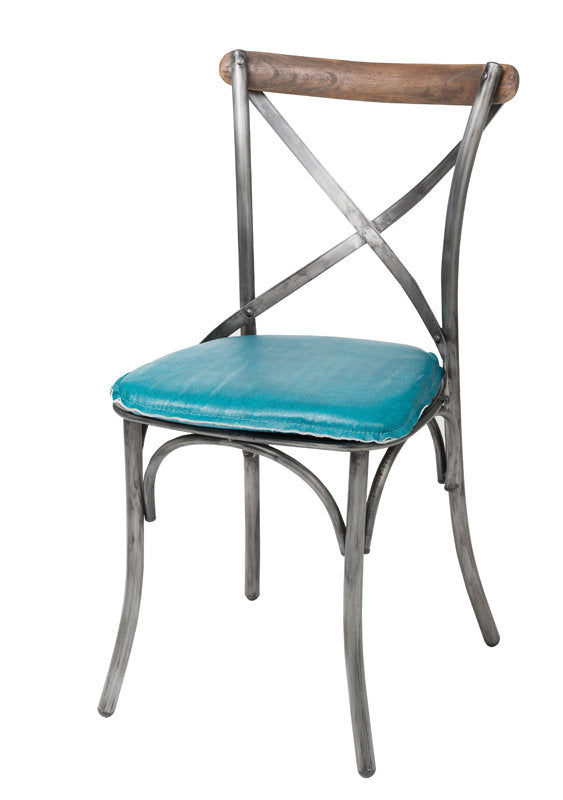 Crossback Metal Chair - Peacock Blue - 2003-2018 Homestead Furniture All Rights Reserved