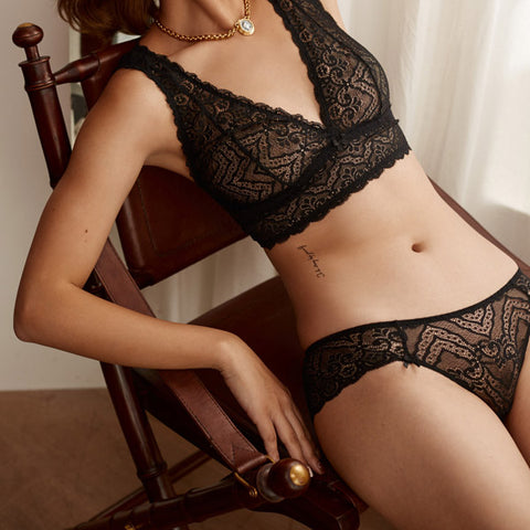 Easy Does It - Lace Detail Bralette and Panty Set