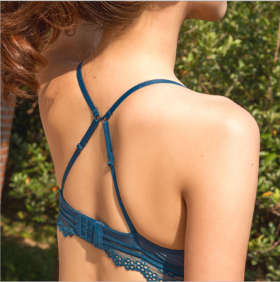 Blue Angel Bralette with Lace Detail Back View