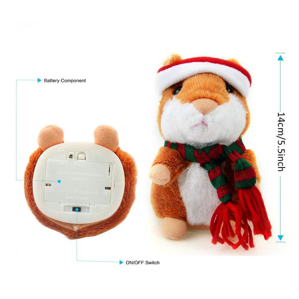 Electronic Talking Hamster with Christmas Hat & Scarf