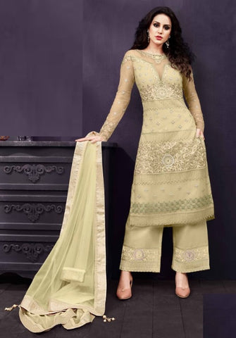 Beige Fancy Partywear Salwar Suit With  Dupatta