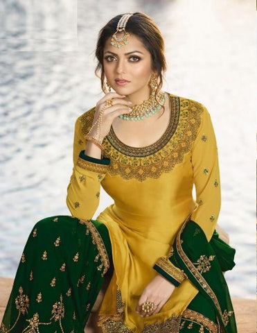 Yellow Georgette Partywear Salwar Kameez With  Dupatta