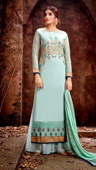 Blue Georgette Party Wear Salwar Kameez With  Dupatta