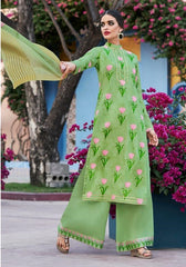 Green Cotton Satin Casual  Suit With  Dupatta