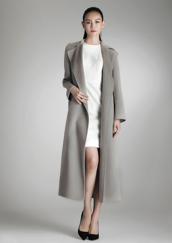 Long cashmere wrap coat