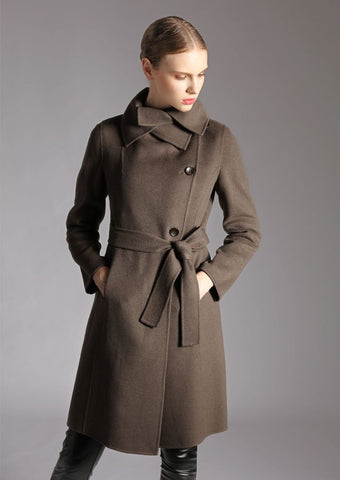 Ladies Double Collar Woven Coat