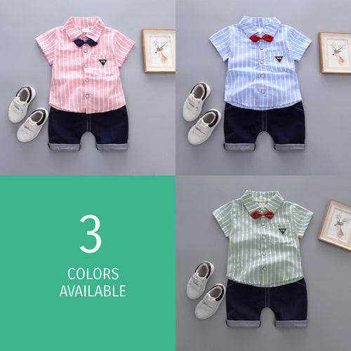 Little Man Striped Top & Shorts