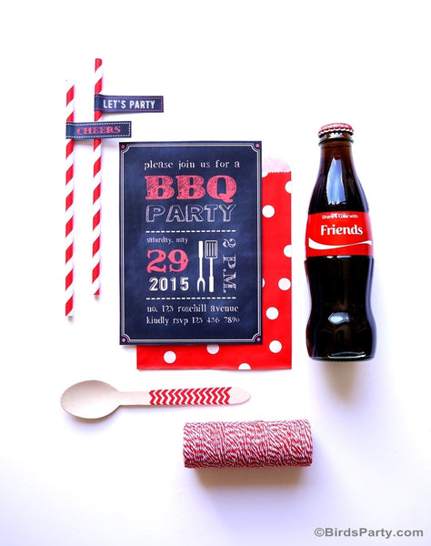 BBQ Grilling Cookout Party Printable Invitations | BirdsParty.com