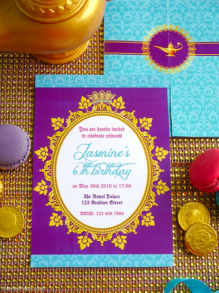 Princess Jasmine Birthday Party Printable Invitations | BirdsParty.com