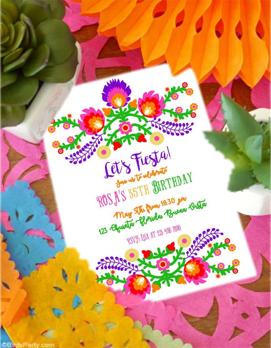 Mexican Fiesta Party Printable Invitations | BirdsParty.com