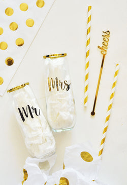 Mr & Mrs Stemless Glass | BIrdsParty.com