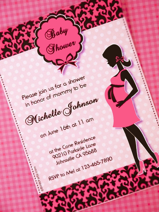 Glam Pink & Black Baby Shower Party Printable Invitations | BirdsParty.com