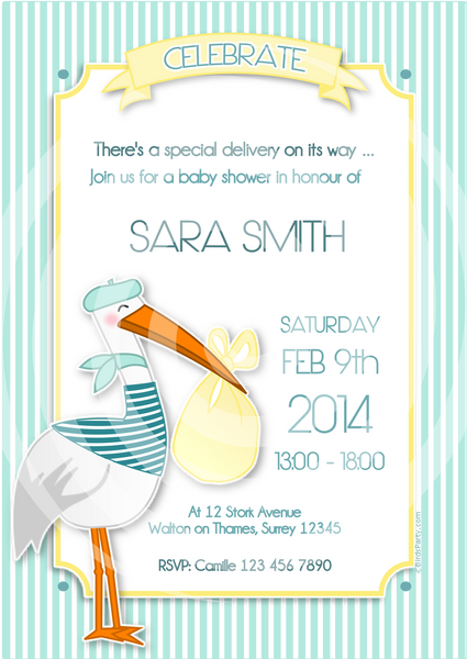Stork Pink or Blue Baby Shower Party Printable Invitations | BirdsParty.com