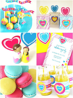 Valentine's Day Color Pop Party Printables Supplies & Decorations Kit with Invitations | BirdsParty.com