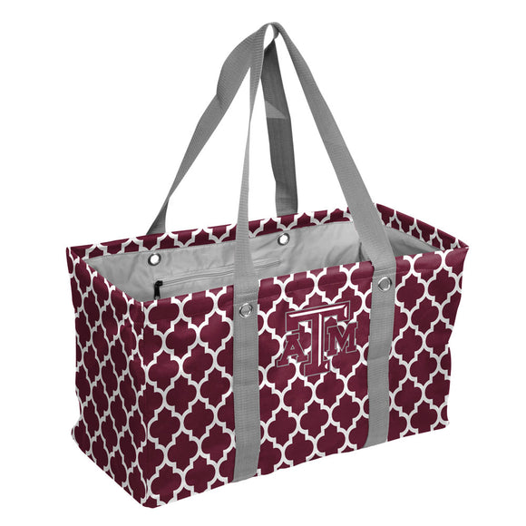 TX A&M Quatrefoil Picnic Caddy