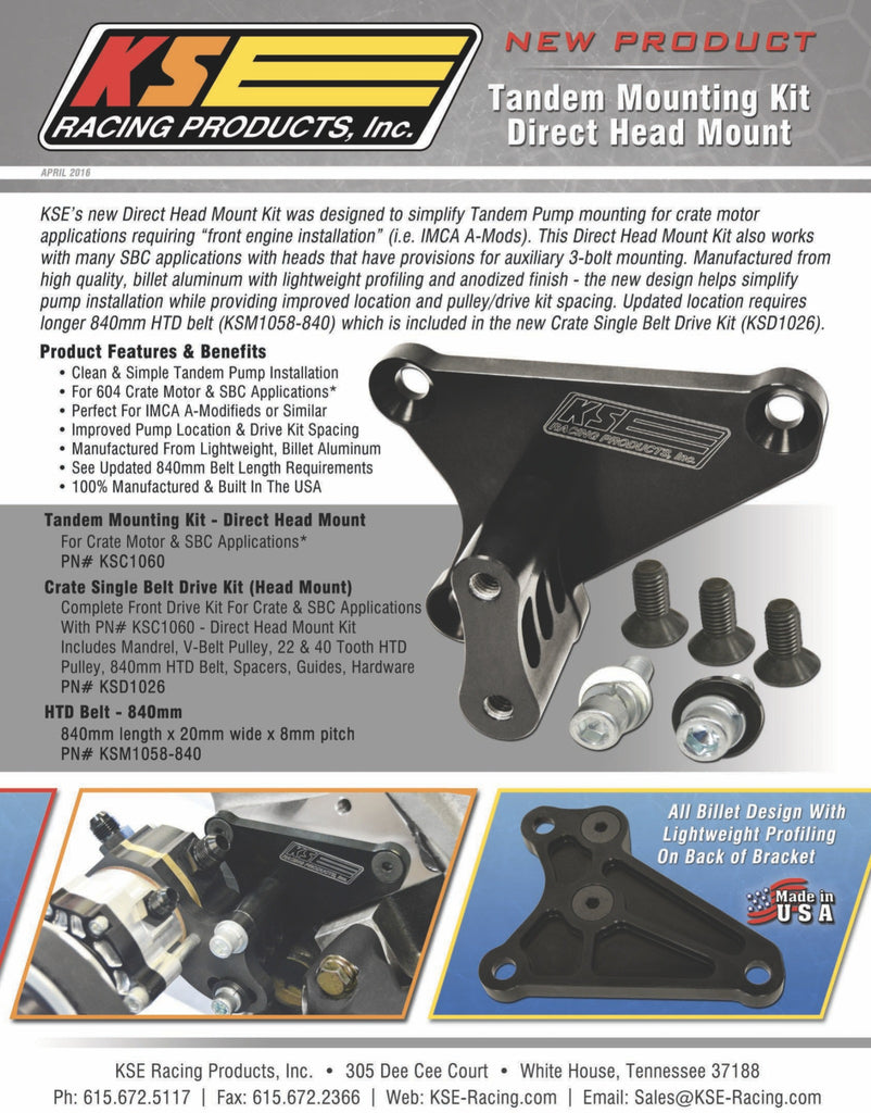 ENGINE & DRIVELINE - TANDEM MOUNTING KIT - DIRECT HEAD MOUNT