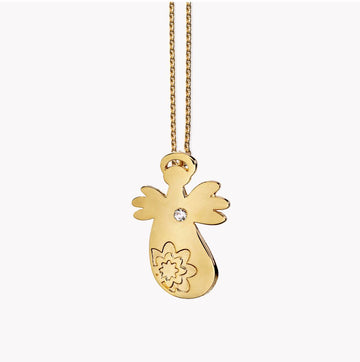 North-star Angel pendant - 14ct Gold/diamond