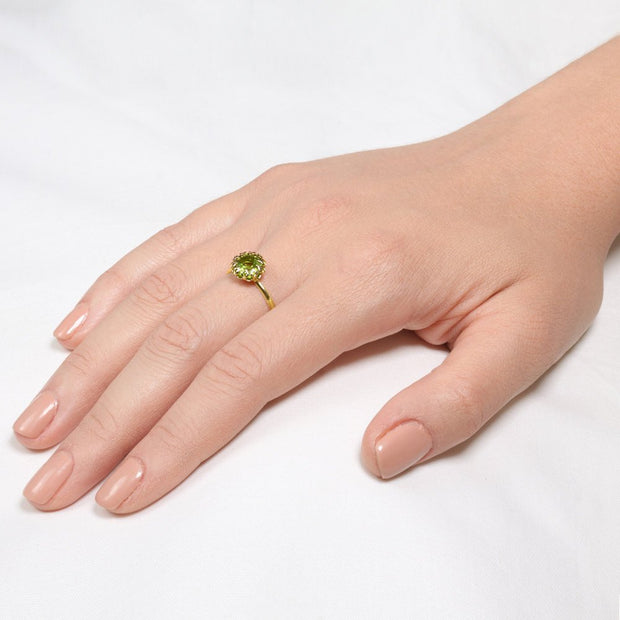 Crown Peridot Gold Ring