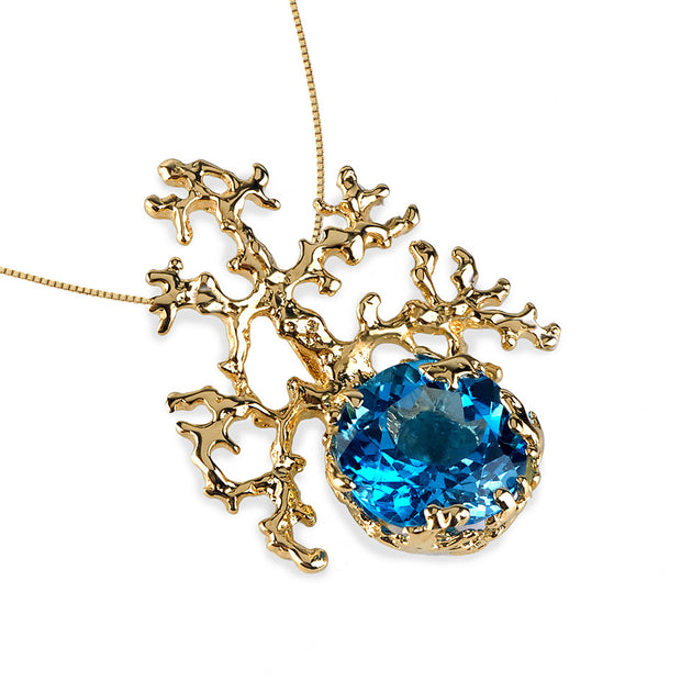 Coral Swiss Blue Topaz Gold Pendant Necklace