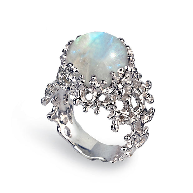 Coral Rainbow Moonstone Ring