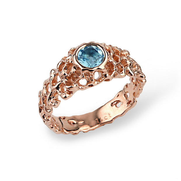 Coral Swiss Blue Topaz Rose Gold Solitaire Ring