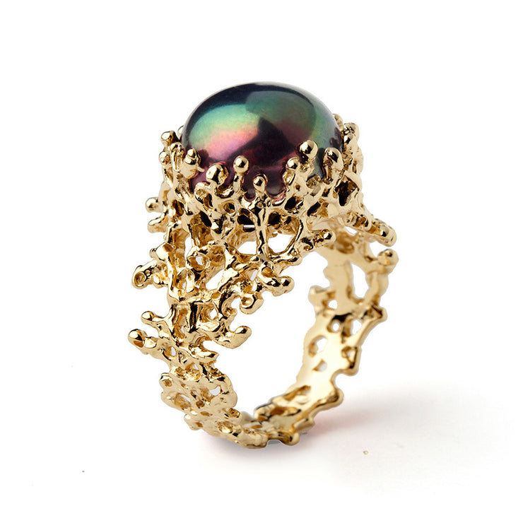 Coral Black Pearl Wide Gold Ring