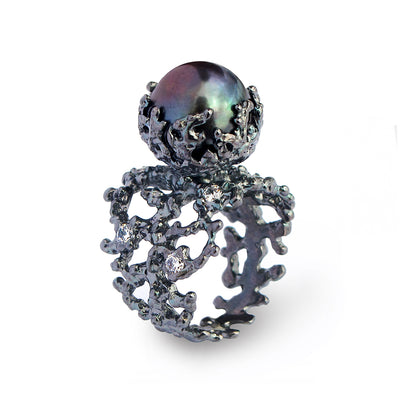 Coral Black Pearl Cubic Zirconia CZ Ring