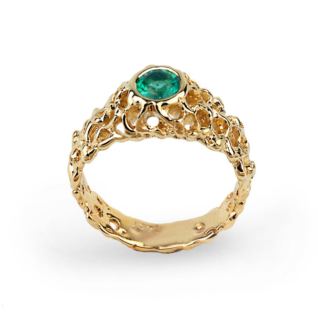 Coral Emerald Gold Solitaire Ring