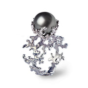 Coral Tahitian Pearl White Gold Ring