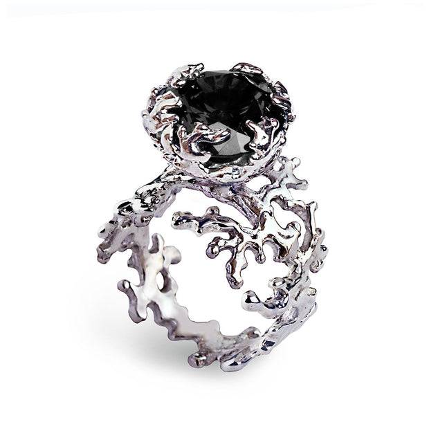 Coral Black Gemstone Ring