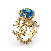 Coral Swiss Blue Topaz Gold Ring