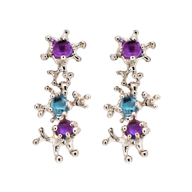 Between The Seaweeds Amethyst and Blue Topaz Earrings