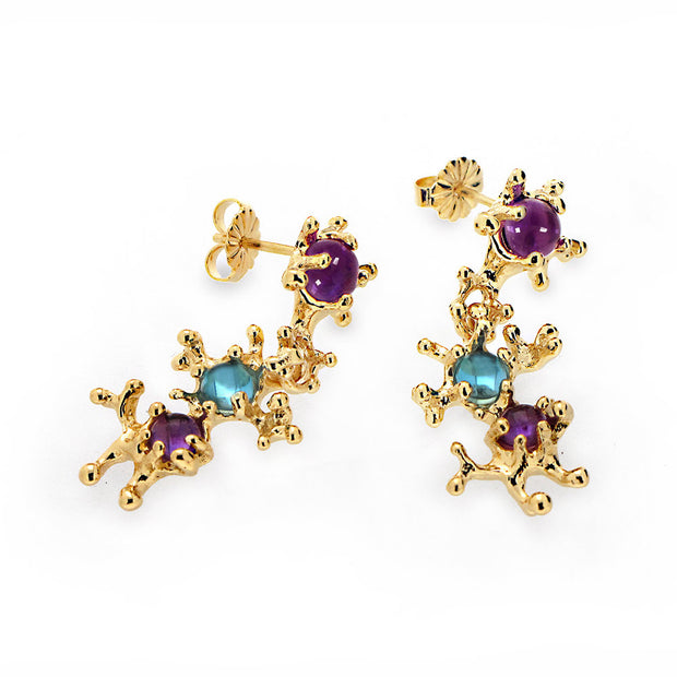 Between The Seaweeds Amethyst and Blue Topaz Gold Earrings