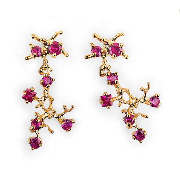 Reef Ruby Gold Earrings