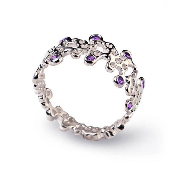 Lace Amethyst Wedding Band