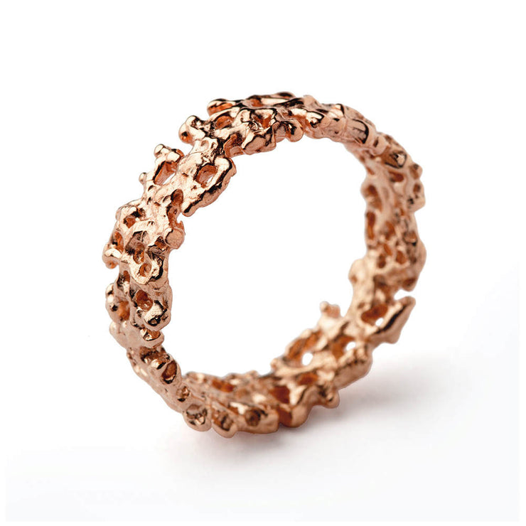 Coral Rose Gold Plated Wedding Band Ring
