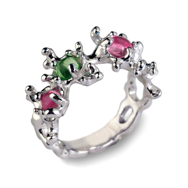 Between the Seaweeds Green and Pink Tourmaline Ring