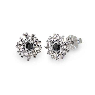 Coral Black Diamond Earrings